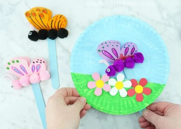 butterfly paper plate summer craft idea for kids