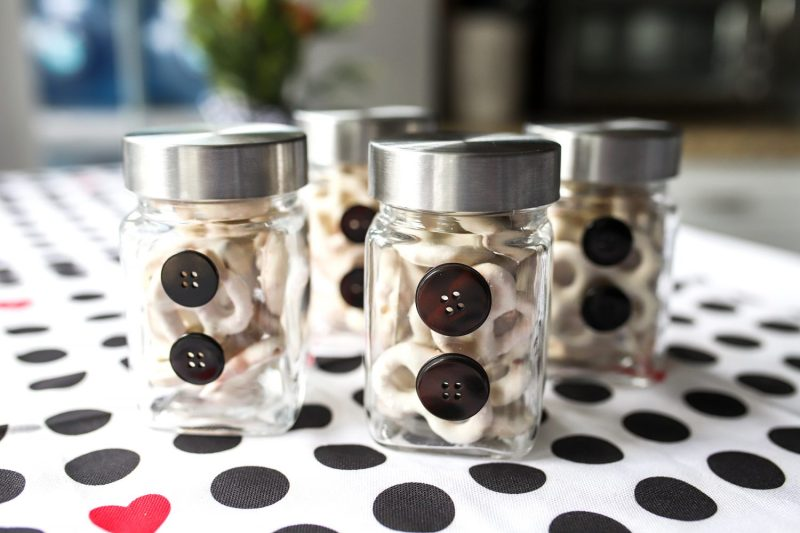 glass jars filled with pretzels