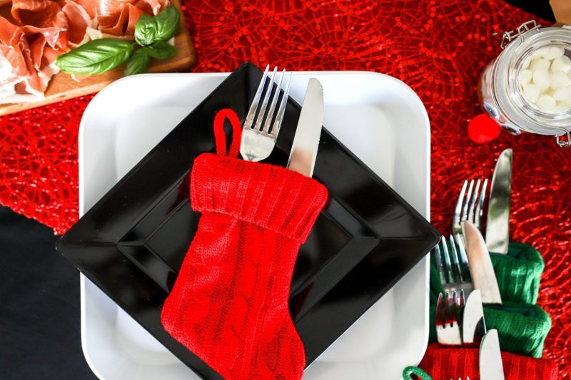 christmas stocking used to hold utensils