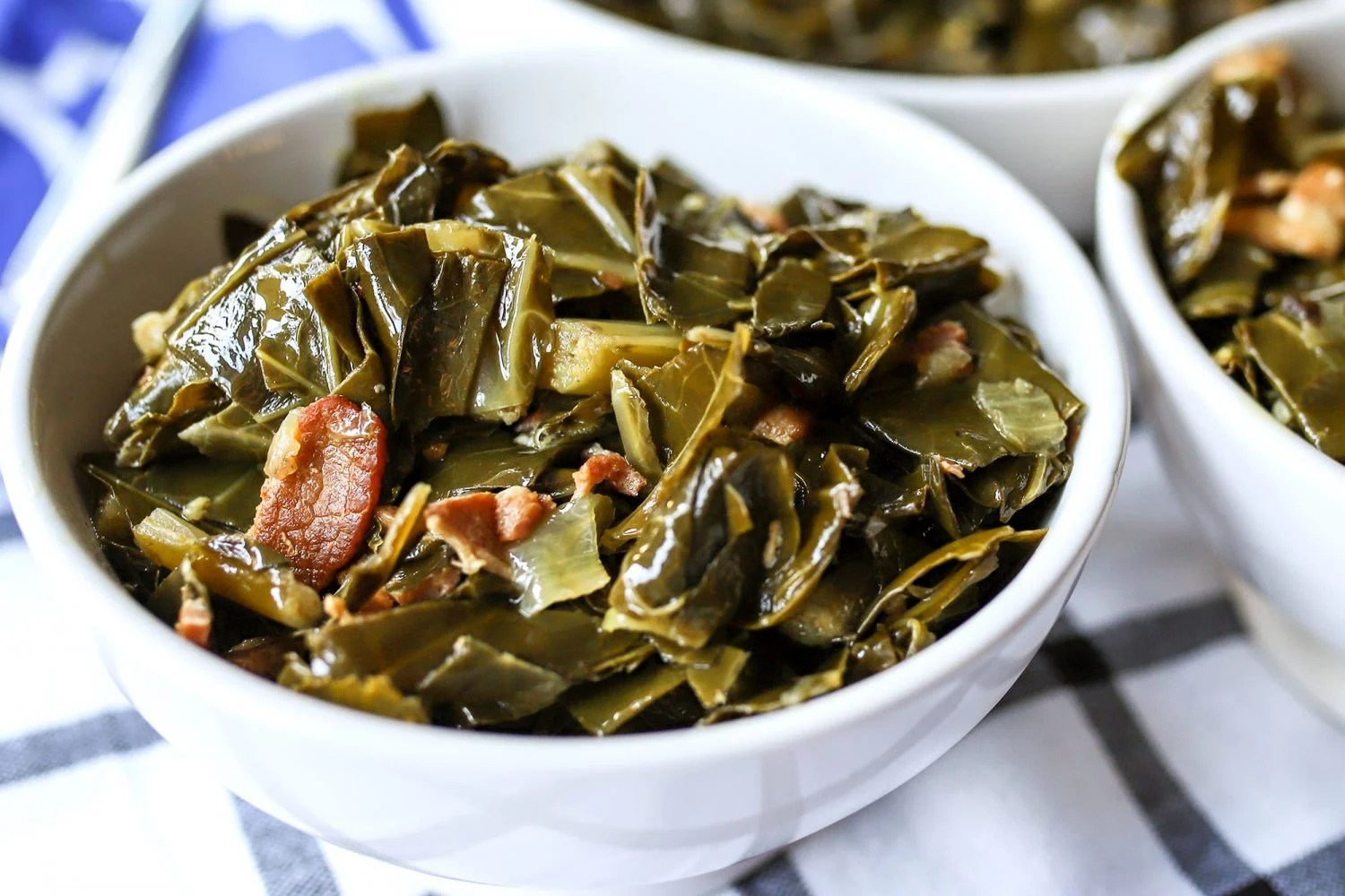 bowls filled with homemade collard greens