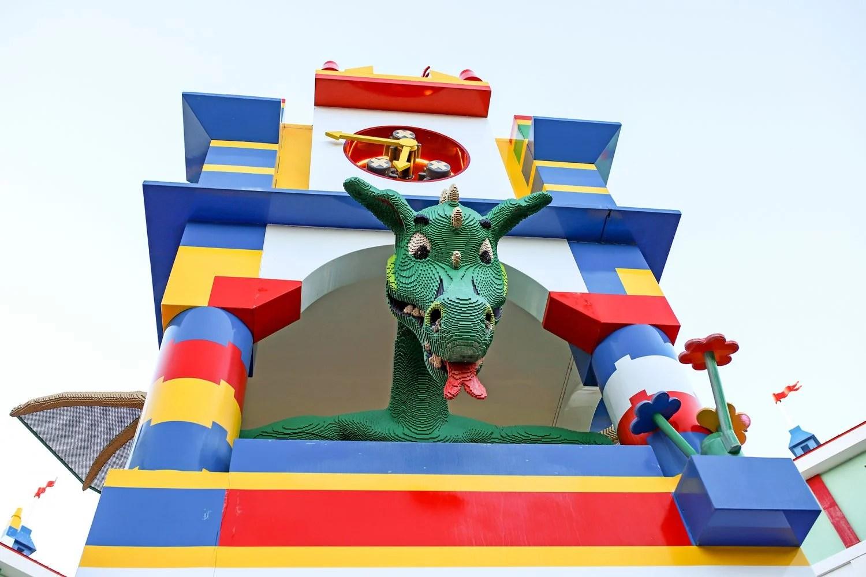 dragon inside of a lego castle