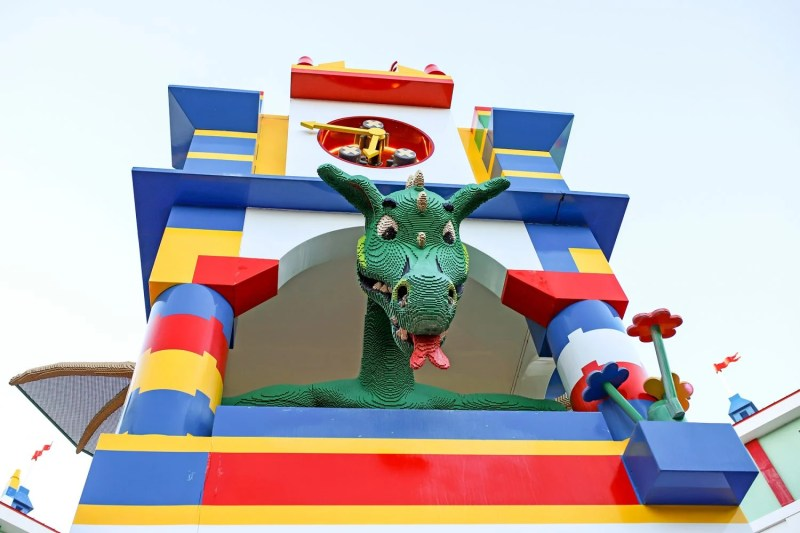 dragon inside of a lego castle
