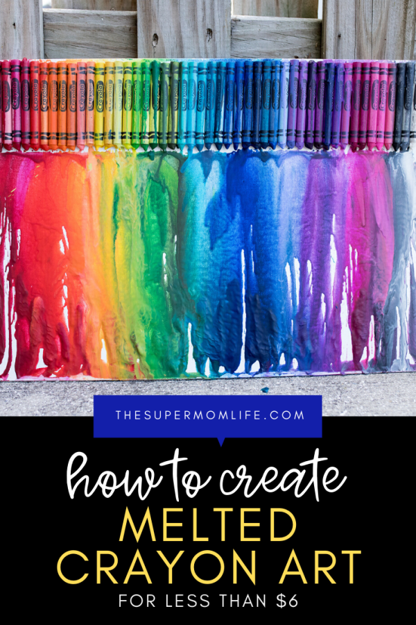 Looking for a fun and inexpensive art project for you and your kids? This melted crayon art takes less than an hour and the whole family can participate!