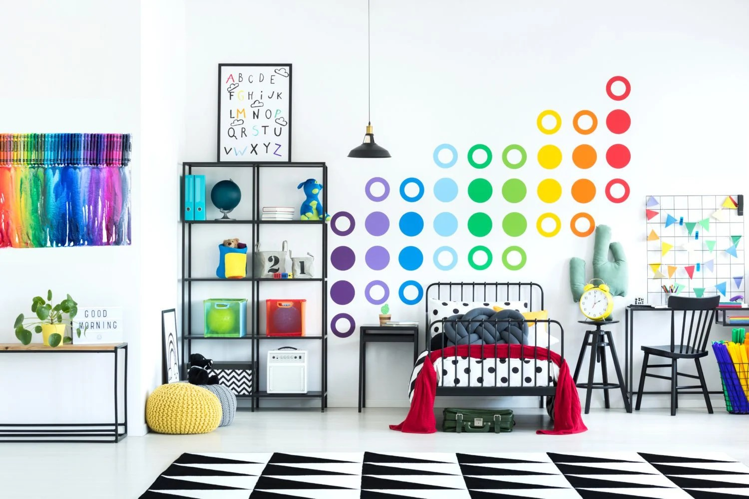 colorful bedroom with melted crayon art