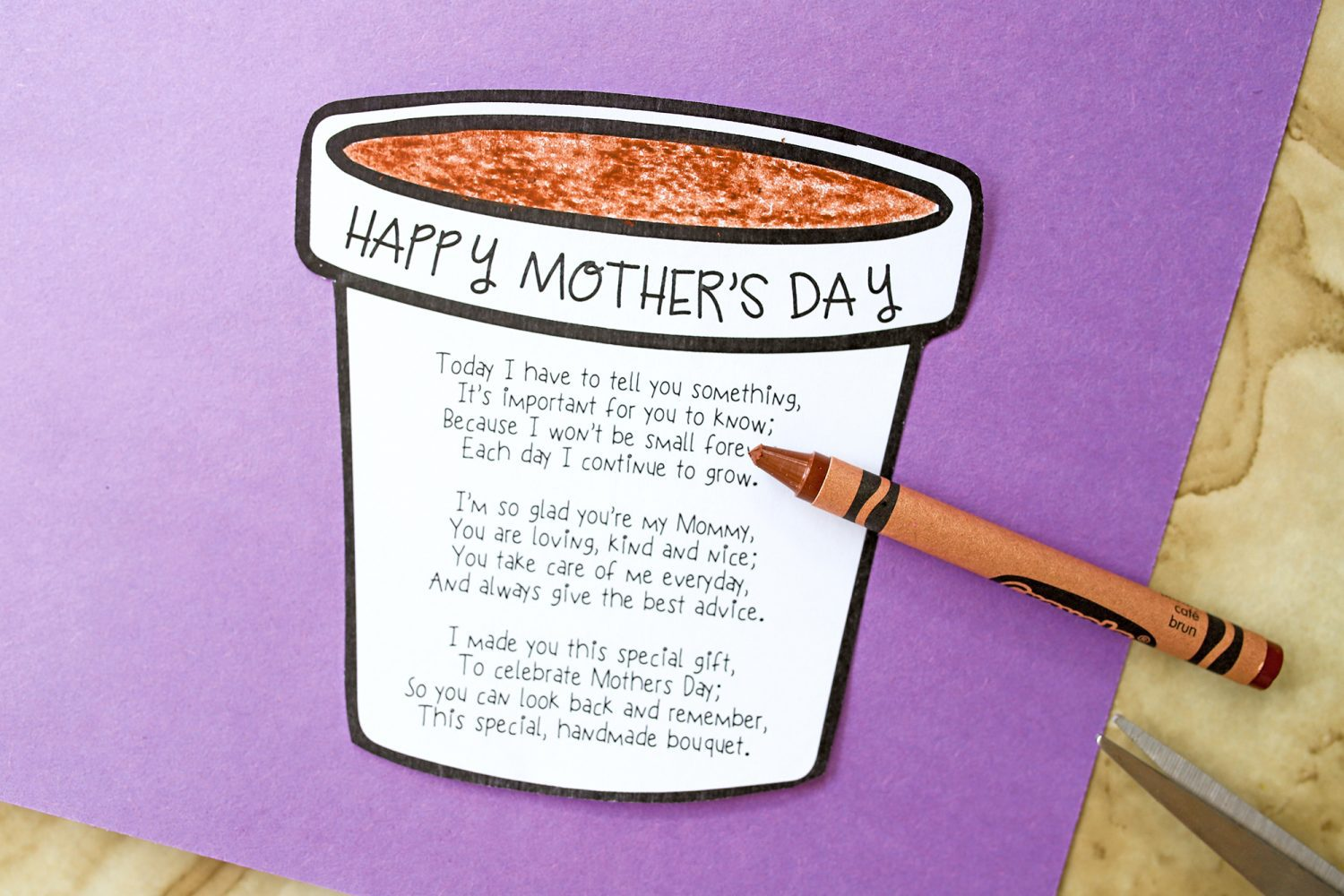 Happy Mother's Day poem and a crayon