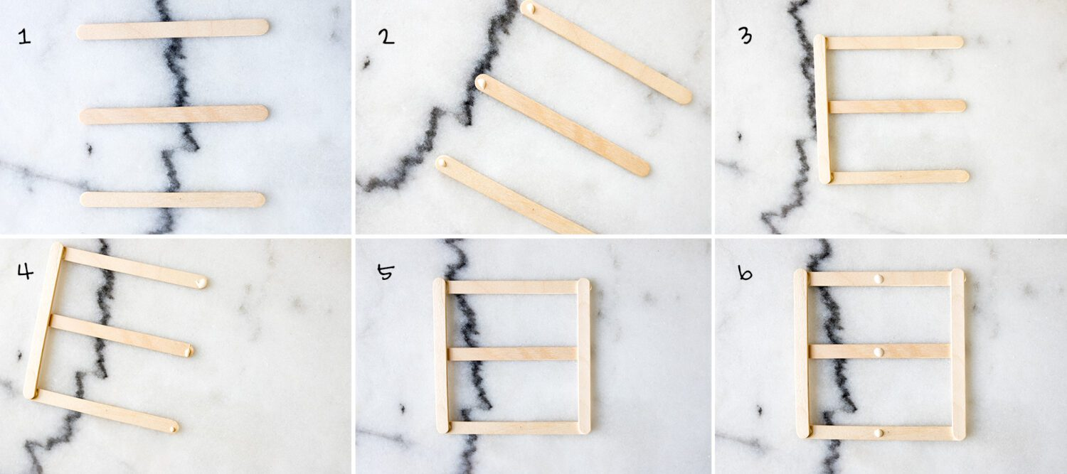 step by step how to make a coaster out of popsicle sticks