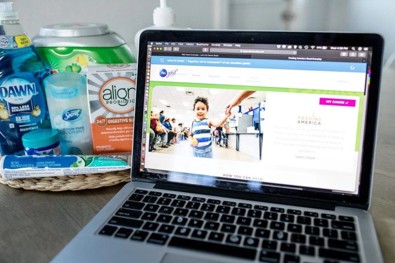 laptop on p&g good everyday with products in the background