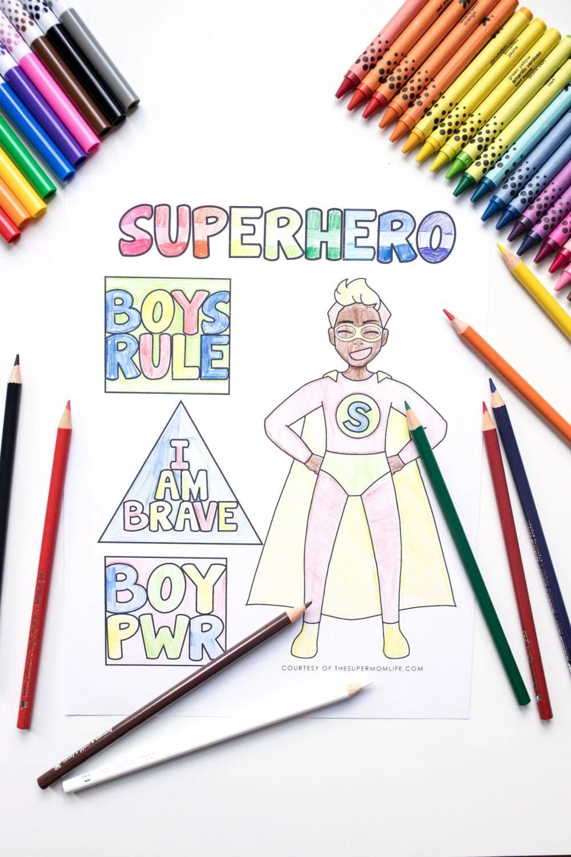 super hero boy coloring page