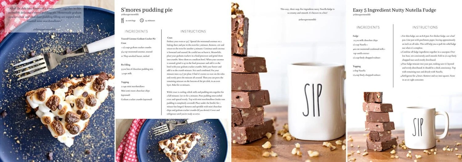 Rae Dunn Recipes Cookbook S'mores Pudding Pie and Nutty Nutella Fudge