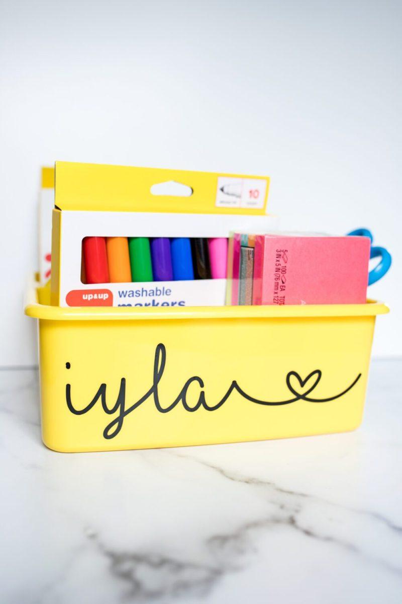 personalized school supply bin