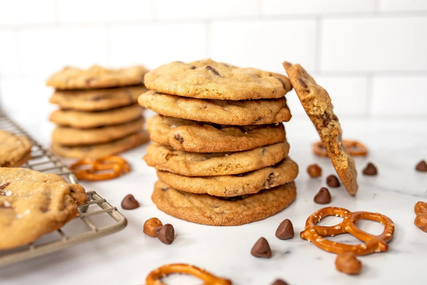 stack of cookies with pretzels caramel and chocolate chips