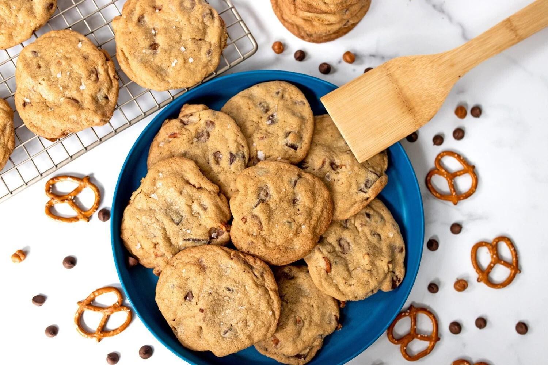 plate full of homemade panera kitchen sink copycat cookies