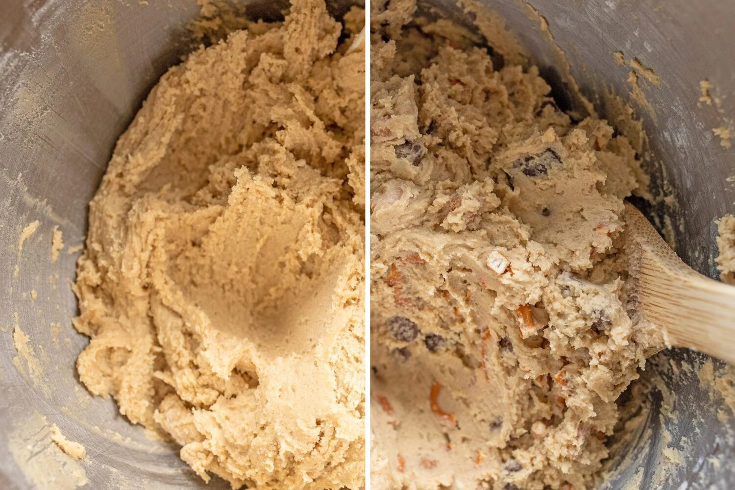 batter with and without the chocolate chips pretzels and caramel bits