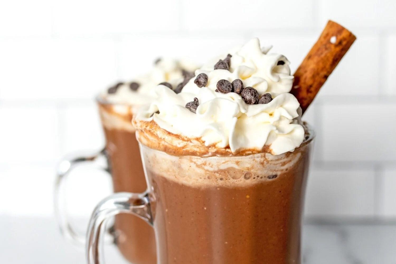 close up of vegan chai hot chocolate