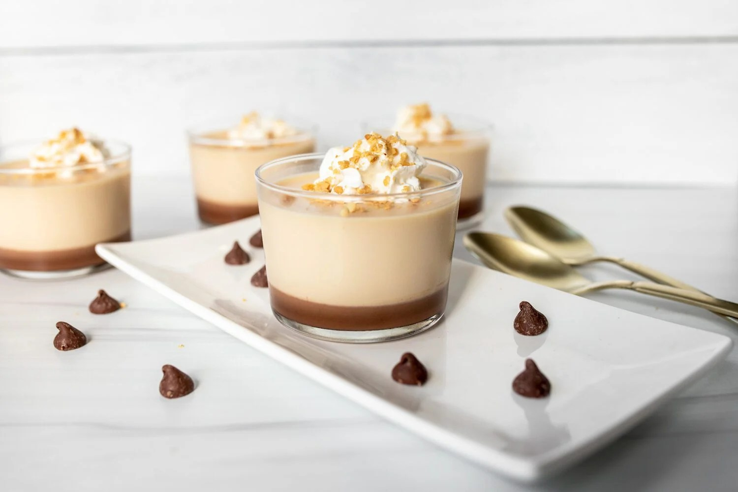 caramel and chocolate panna cotta on a plate