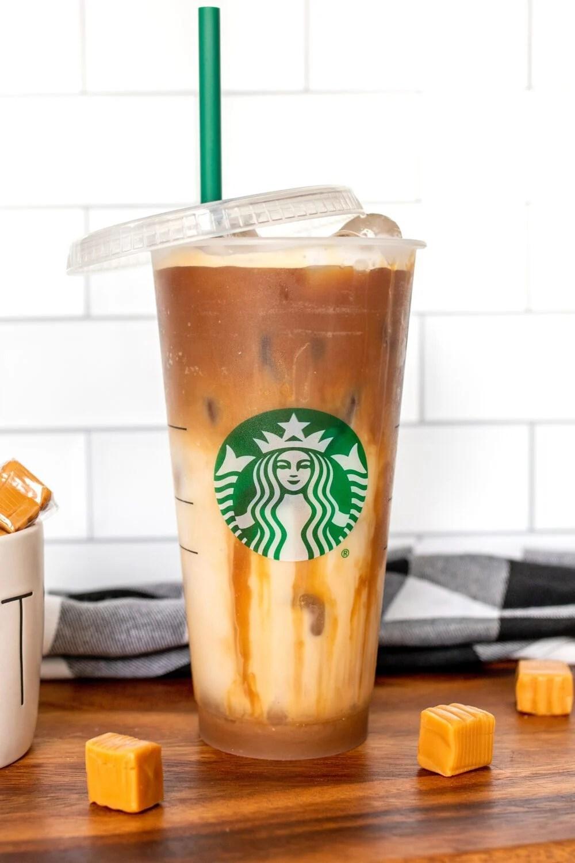iced caramel macchiato in a starbucks cup