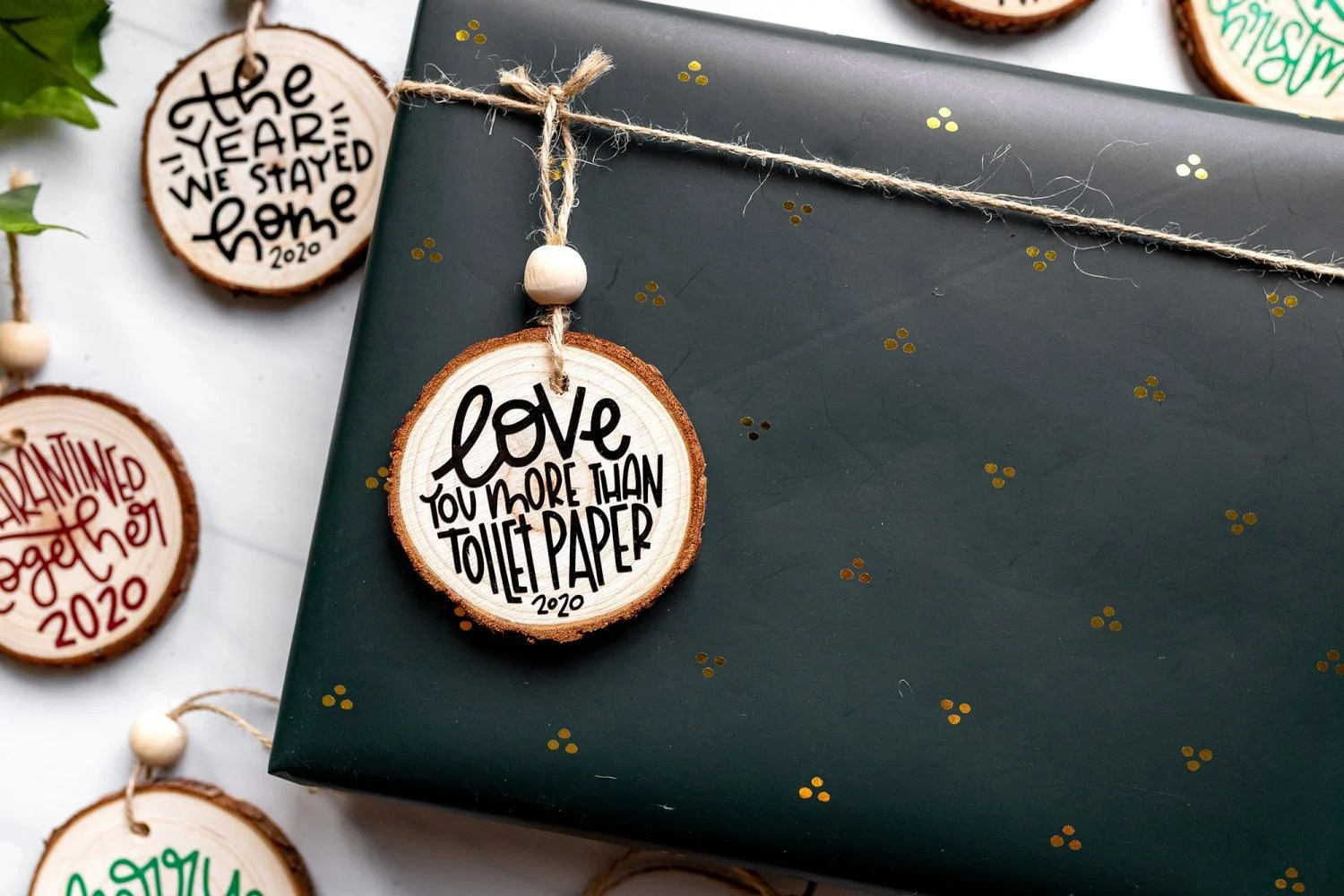 gift wrapped with a rustic ornament