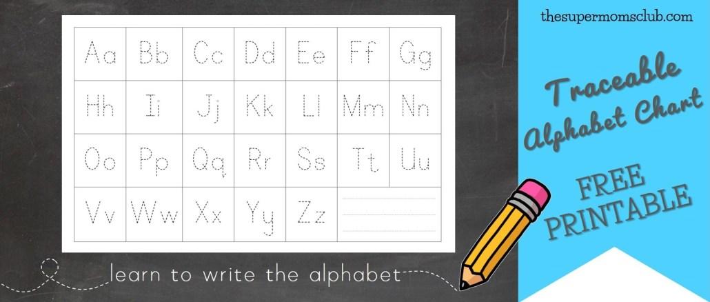 FREE Traceable Alphabet Chart Printable - thesupermomsclub.com