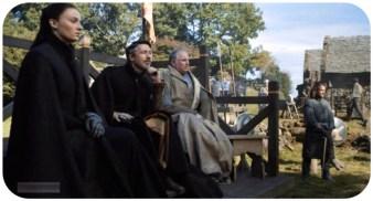Sansa, Petyr, and Lord Royce watch Sir Robin fighting