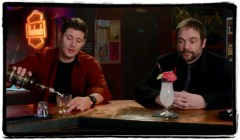Crowley and Dean have a drink together