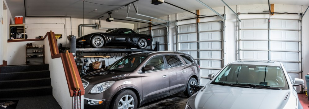 3 car garage with 4th car lift