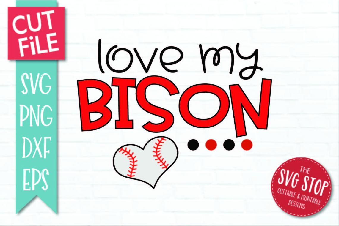 Download Baseball Love Bison - SVG, DXF, PNG, EPS - Cut File