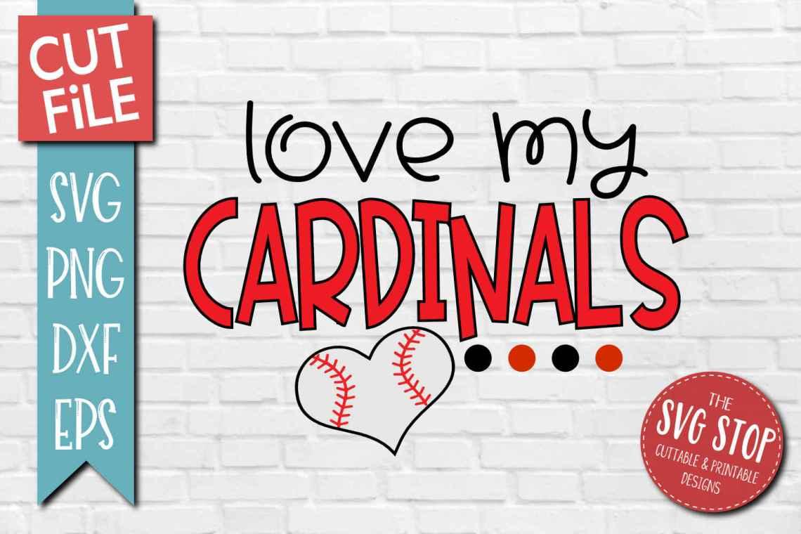 Download Baseball Love Cardinals- SVG, DXF, PNG, EPS - Cut File