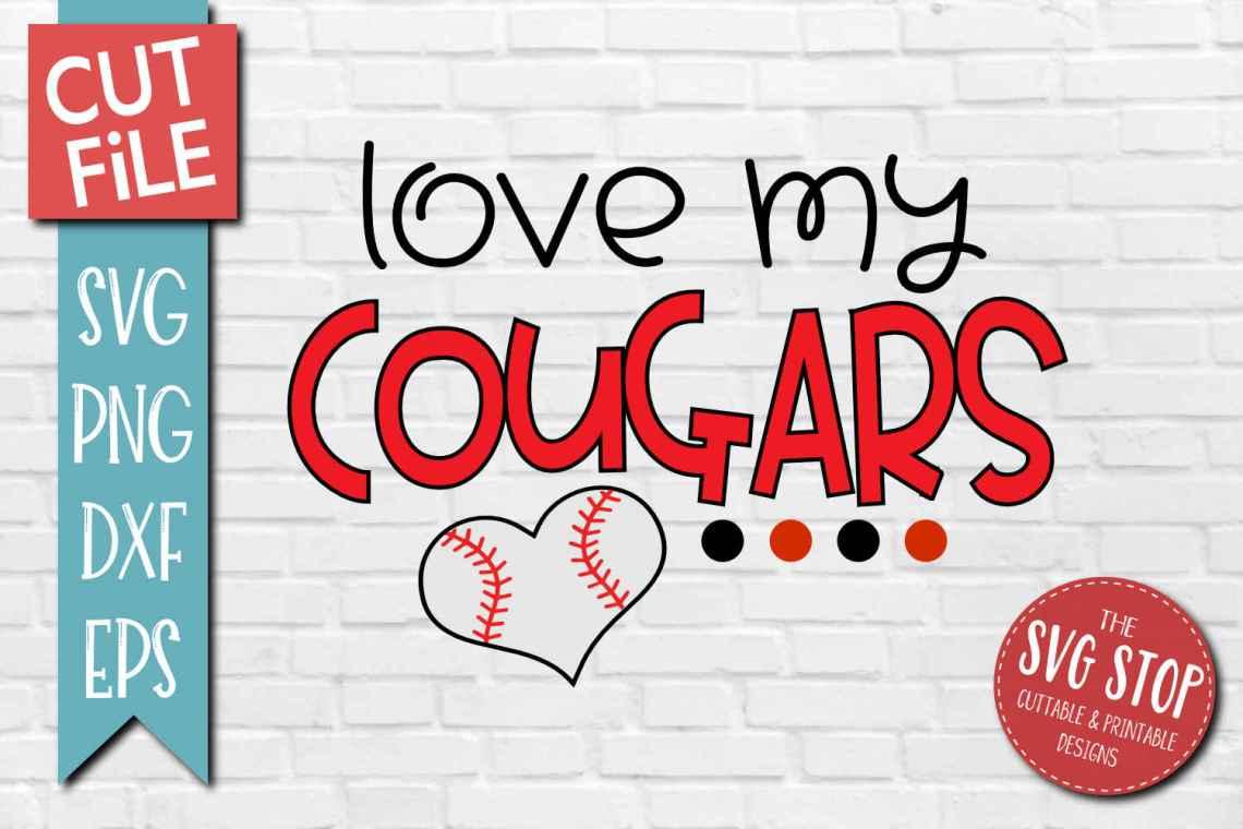 Download Baseball Love Cougars - SVG, DXF, PNG, EPS - Cut File