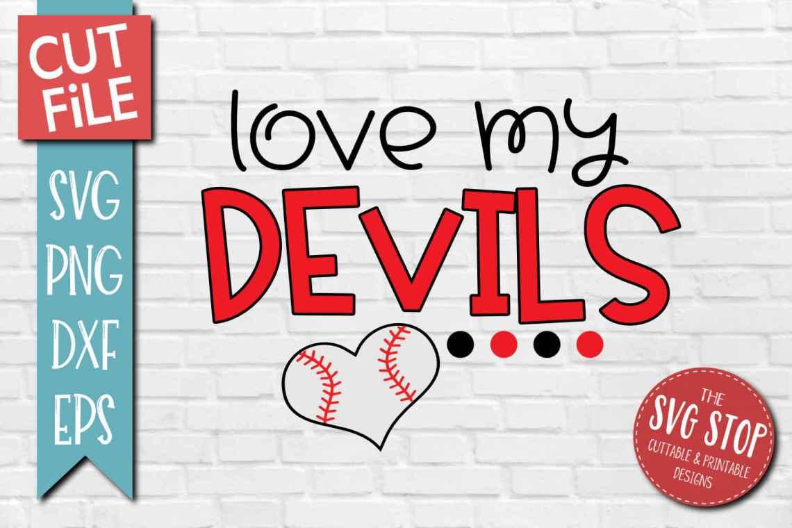 Download Baseball Love Devils - SVG, DXF, PNG, EPS - Cut File