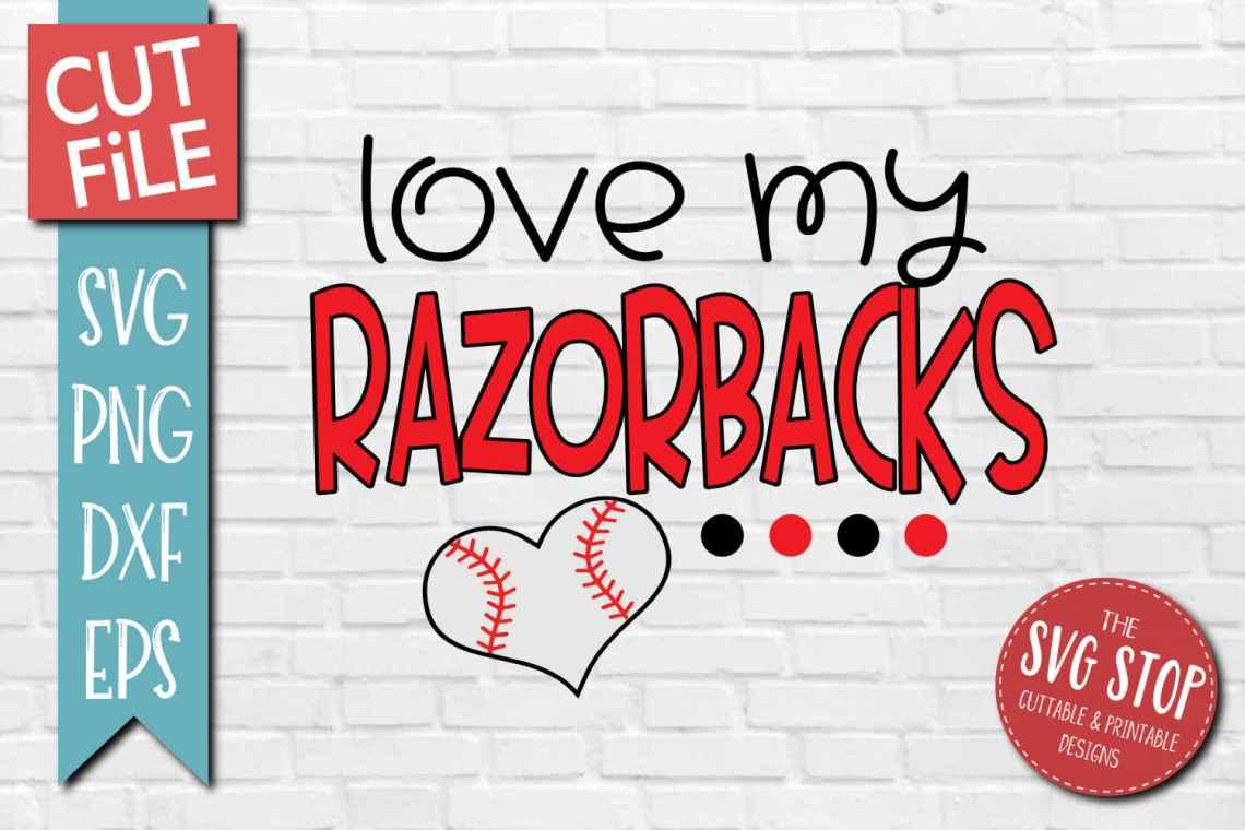 Download Baseball Love Razorbacks - SVG, DXF, PNG, EPS - Cut File