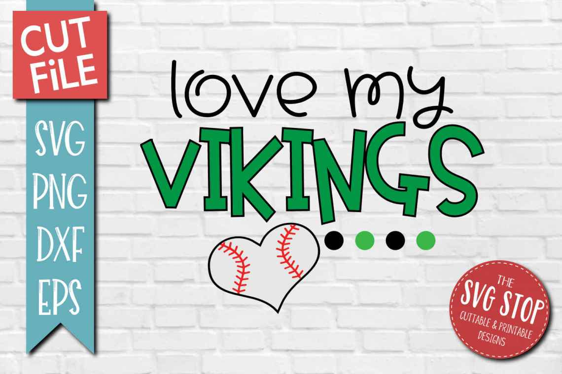 Download Baseball Love Vikings - SVG, DXF, PNG, EPS - Cut File