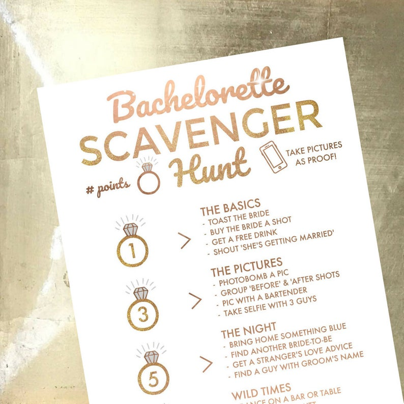 Paper Party Supplies Party Games 21st Birthday Bachelorette Scavenger Hunt Diy Scavenger Hunt Invite Idea Last Fling Before The Ring