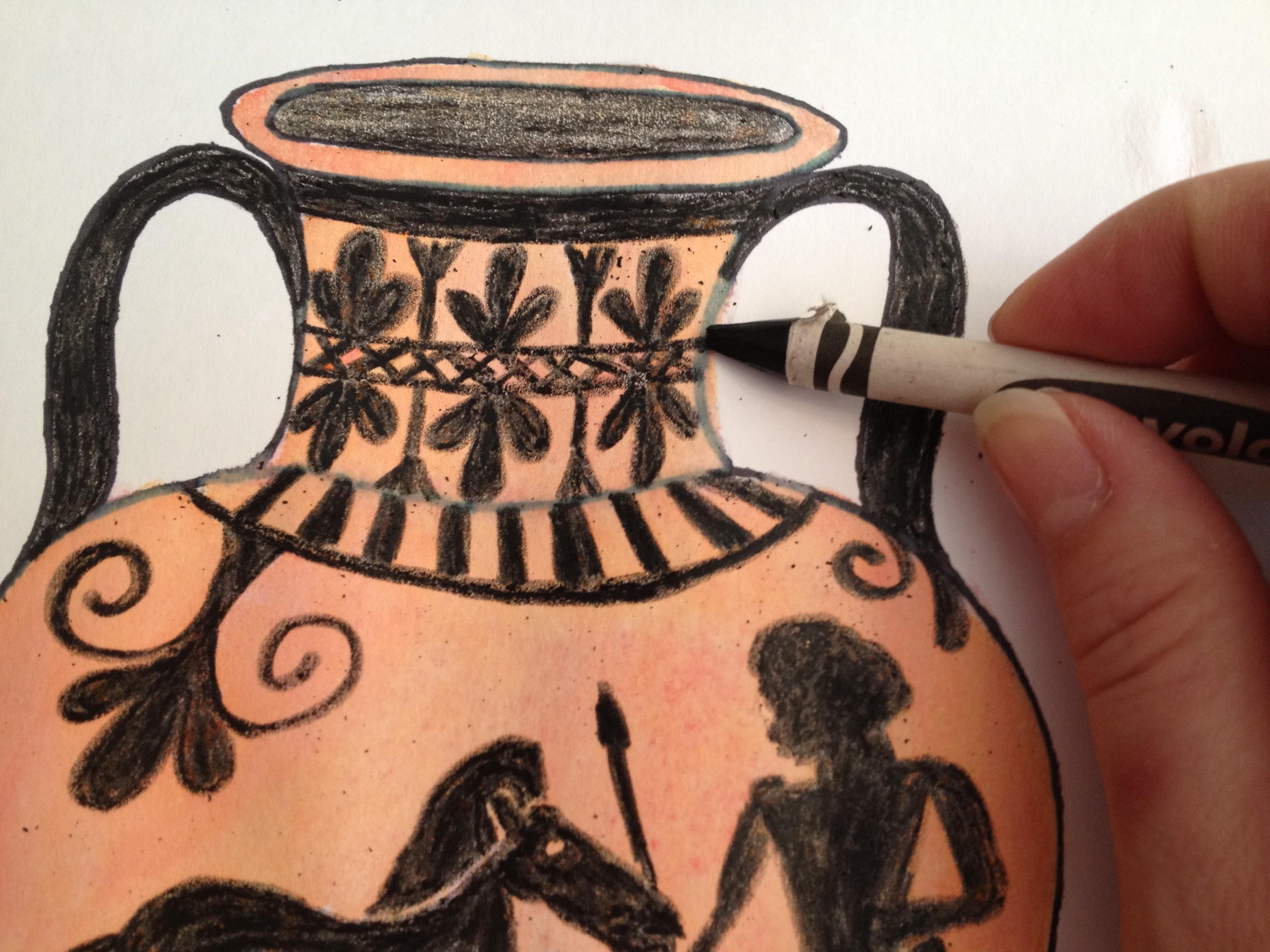 Wax Resist Greek Vase