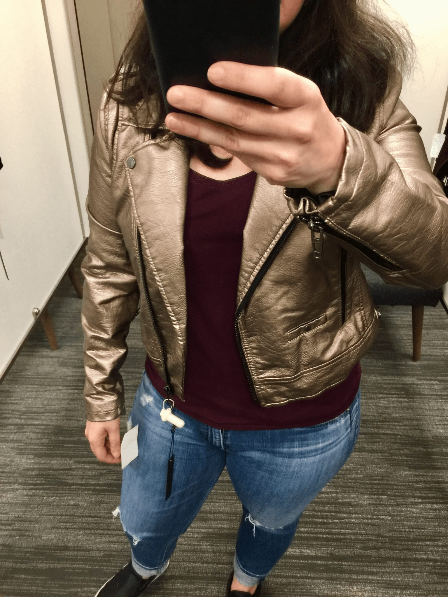 Metallic Faux Leather Moto Jacket BLANKNYC