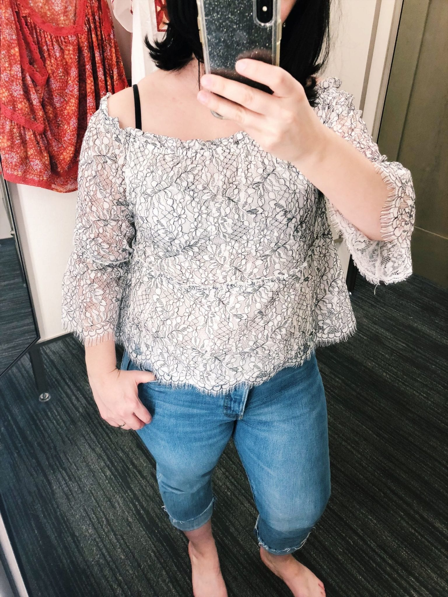 Cupcakes and Cashmere Nichols Off The Shoulder Lace Top