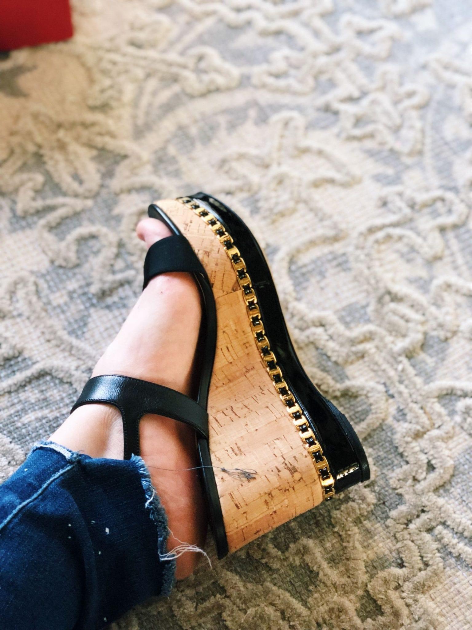 Salvatore Ferragamo Mollie Chain-Trim Wedge Sandal