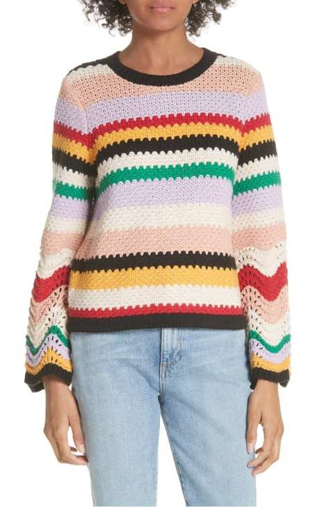 Alice + Olivia Alivia Stripe Bell Sleeve Cotton Blend Sweater