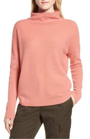 Cashmere Directional Rib Mock Neck Sweater NORDSTROM SIGNATURE