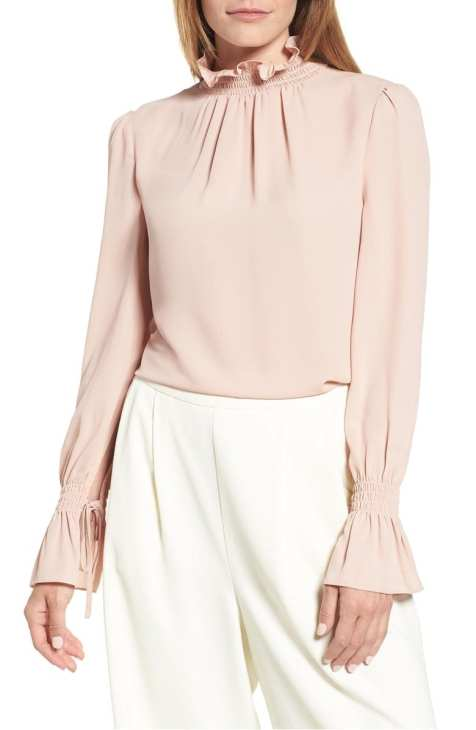 Smocked Neck Blouse VINCE CAMUTO