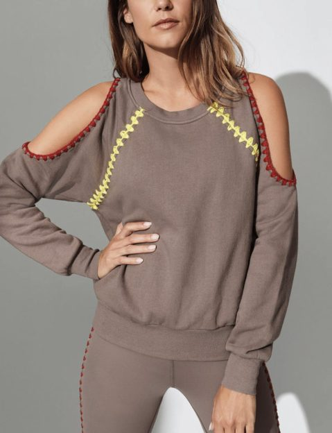 CARBON38 CROCHET COLD SHOULDER SWEATSHIRT, La Plage, Nude
