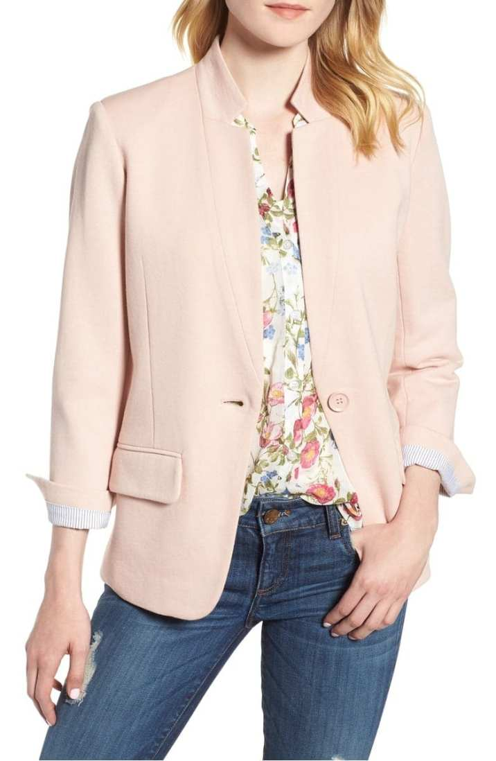 Cotton Blend Knit Blazer OLIVIA MOON