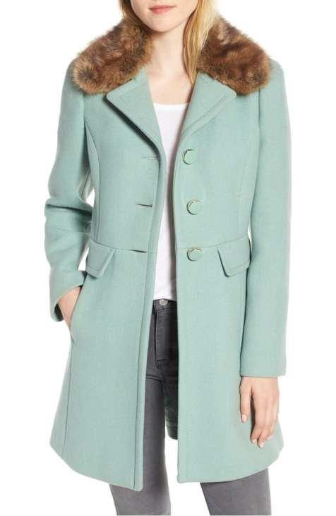 Faux Fur Collar Wool Blend Coat Kate Spade New York