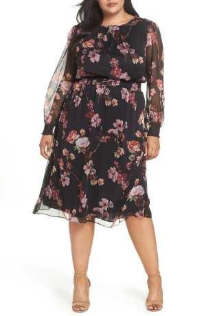 Garden Fleur Chiffon Blouson Dress VINCE CAMUTO