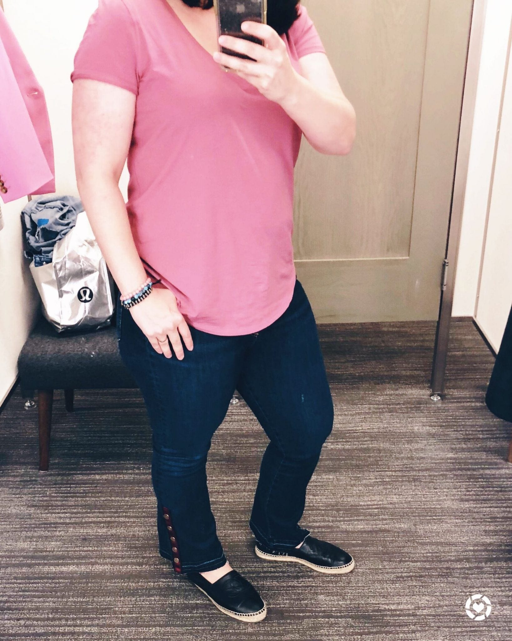 Nordstrom Anniversary Sale 2018 Dressing Room Selfies, Veronica Beard Button Hem Baby Boot Jeans
