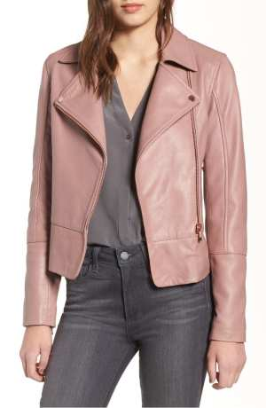 Ted Baker London Lizia Leather Biker Jacket – Nude Pink