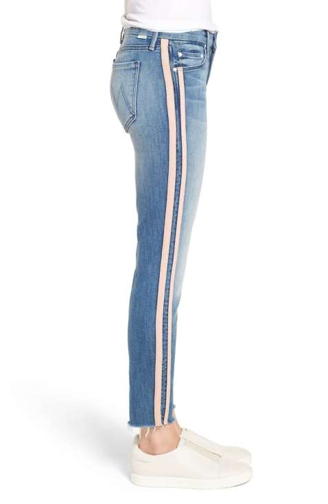 The Looker Frayed Ankle Skinny Jeans Mother Denim