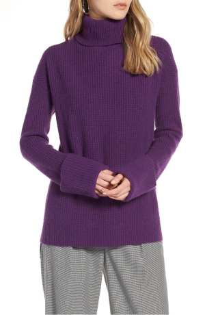 Wide Cuff Turtleneck Cashmere Sweater HALOGEN®