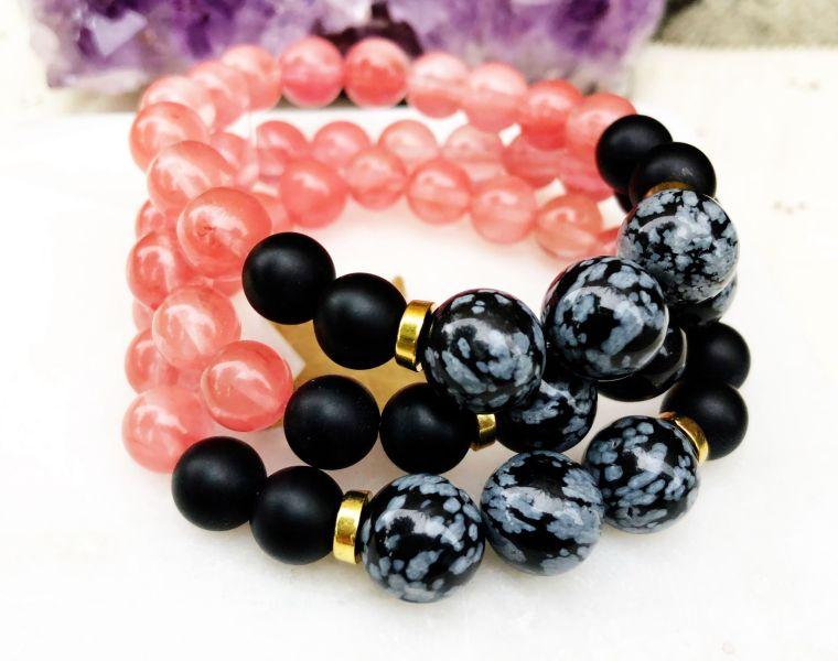 Empress Mala Designs | Cherry Quartz Black Snowflake Obsidian Mala Bead Bracelet