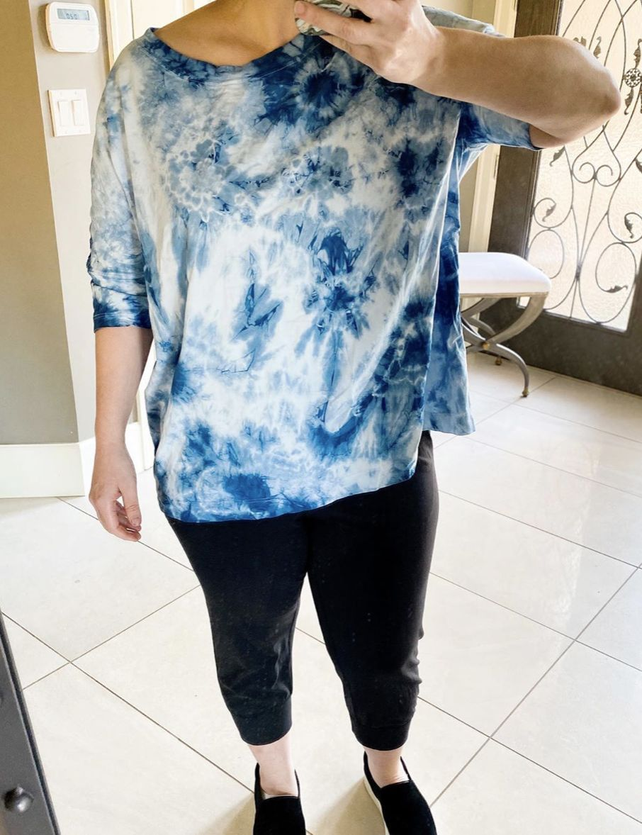 All Yours Boyfriend Box Tee, tie-dye, natural indigo dying, shibori