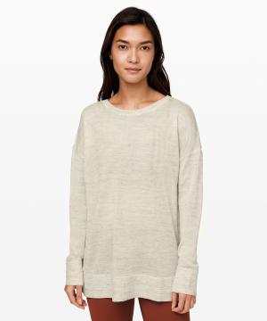 Well Being Crew Sweater Linen_heathered muslin